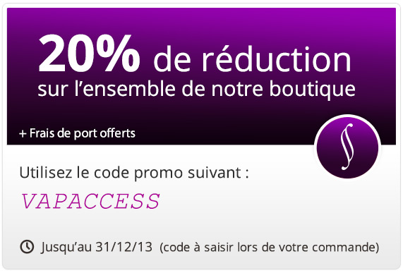code promotion 20 sur toute la boutique cigarette lectronique. Black Bedroom Furniture Sets. Home Design Ideas